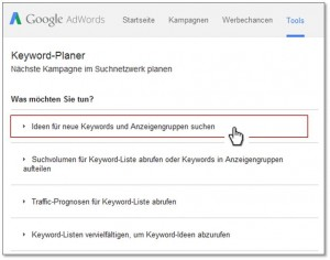 Keyword-Planer Step 2